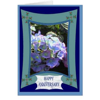 Aniversario feliz, hydrangia de la lila tarjeta de felicitación