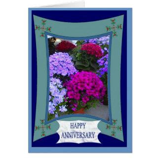 Aniversario feliz, hydrangias exóticos tarjeta de felicitación