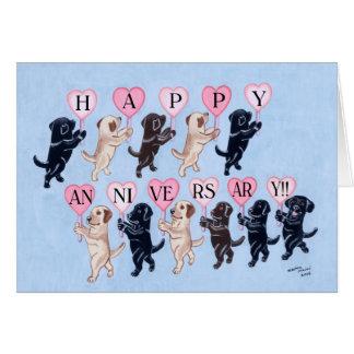 Aniversario feliz Labradors Tarjeta De Felicitación