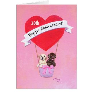 Aniversario feliz Labradors Tarjeta