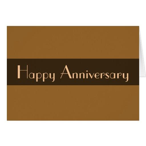 Aniversario feliz marrón claro tarjeta pequeña