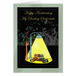 Aniversario feliz mi Alma-compañero querido Tarjeta De Felicitación