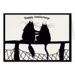 aniversario feliz, par del gato tarjetas