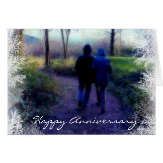 Aniversario feliz - paseo escarchado de la mañana tarjeta de felicitación
