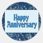 Aniversario feliz pegatina redonda