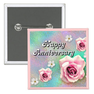 Aniversario feliz pin cuadrada 5 cm