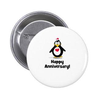 Aniversario feliz pin redondo de 2 pulgadas