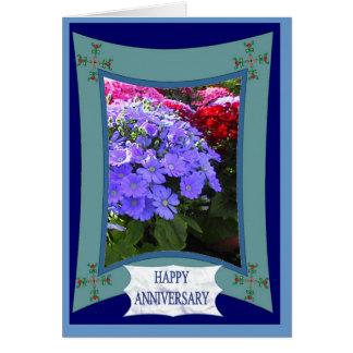 Aniversario feliz, púrpura brillante tarjeta de felicitación