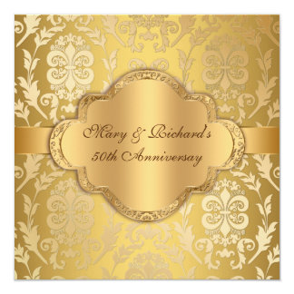 """Aniversario floral del oro 50.o del remolino del invitación 5.25"""" x 5.25"""""""
