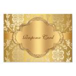 Aniversario floral RSVP del oro del remolino del Invitación 8,9 X 12,7 Cm