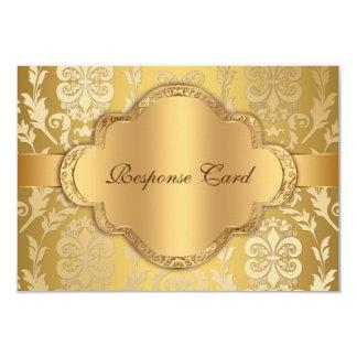 """Aniversario floral RSVP del oro del remolino del Invitación 3.5"""" X 5"""""""