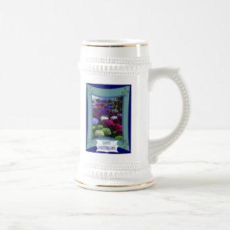 Aniversario, hydrangias mezclados taza de café