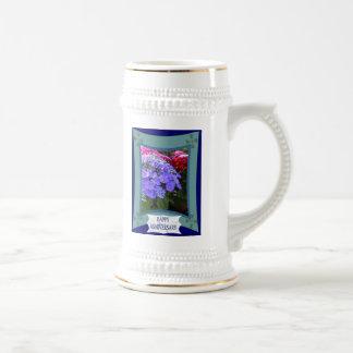 Aniversario, hydrangias púrpuras tazas de café