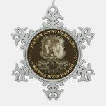 Aniversario ID195 del vintage 50.o Adorno De Peltre En Forma De Copo De Nieve
