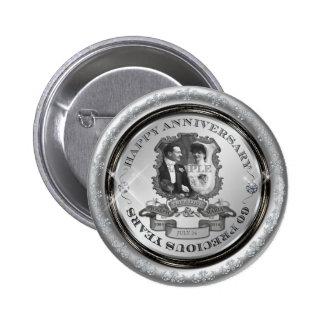 Aniversario ID195 del vintage 60.o Pin Redondo De 2 Pulgadas