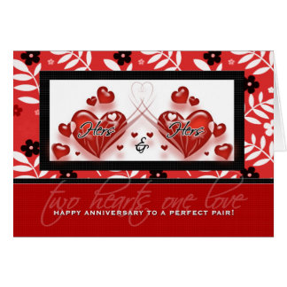 Aniversario lesbiano de los pares - el suyo y el tarjeta de felicitación