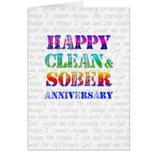 Aniversario limpio y sobrio feliz tarjeta de felicitación