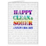 Aniversario limpio y sobrio feliz tarjetas