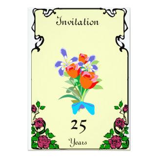 """Aniversario - manojo anaranjado - personalizable invitación 5"""" x 7"""""""