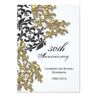 """Aniversario negro de la flor de lis del damasco invitación 5"""" x 7"""""""