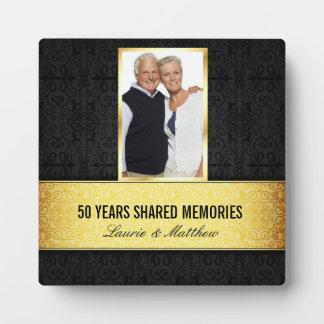 Aniversario negro de oro del marco 50.o de la foto placa para mostrar