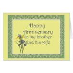 Aniversario para Brother y su esposa, iris Tarjeta De Felicitación