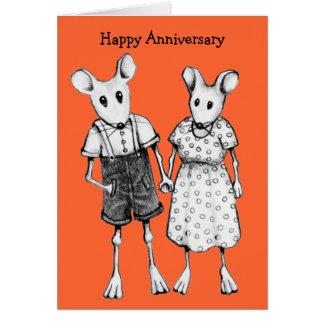 Aniversario: Pares lindos del ratón en lápiz Tarjeta De Felicitación
