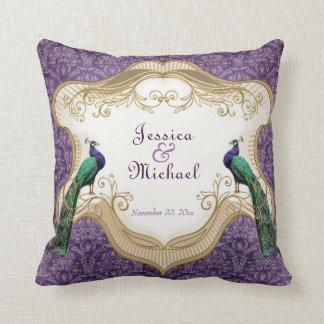 Aniversario personalizado (púrpura) real del pavo cojín
