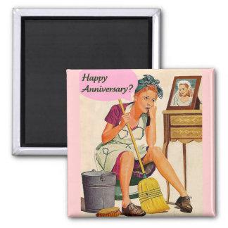 Aniversario retro del ama de casa imanes