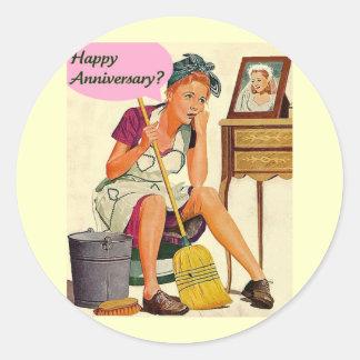 Aniversario retro del ama de casa etiqueta redonda