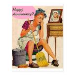 Aniversario retro del ama de casa tarjeta postal