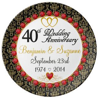 Aniversario rojo personalizado de la porcelana plato de cerámica