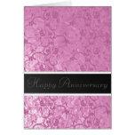 Aniversario rosado del cordón tarjeta de felicitación