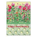 Aniversario rosado y verde de la frontera de la fl tarjetas
