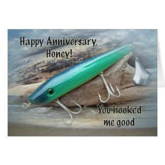 Aniversario - señuelo verde de la pesca del nadado tarjeta de felicitación