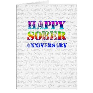 Aniversario sobrio feliz tarjeta de felicitación