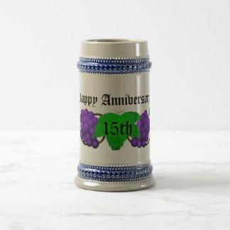 Aniversario Stein décimo quinto del vino Taza