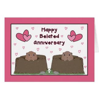 Aniversario tardío feliz del día de la marmota tarjeta de felicitación