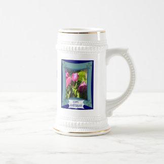 Aniversario, tiempo del tulipán jarra de cerveza