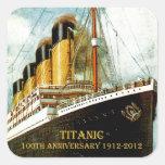Aniversario titánico del RMS 100o Calcomanía Cuadrada