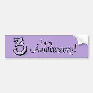 Aniversario tonto de la lavanda del número 3 pegatina para auto