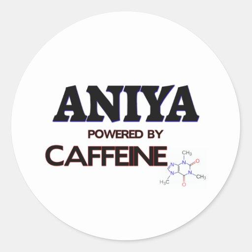 Aniya powered by caffeine classic round sticker
