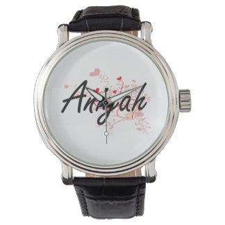 Aniyah Artistic Name Design with Hearts Watch