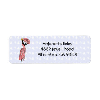 Anjanette Print in Peach and Blue - Address Labels