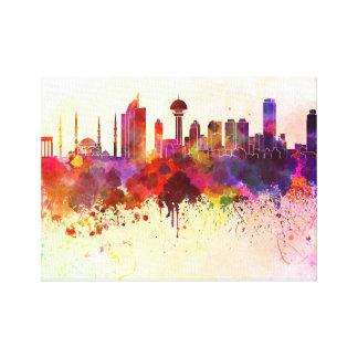 Ankara skyline in watercolor background canvas print
