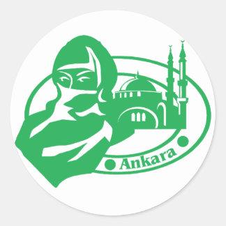 Ankara Stamp Classic Round Sticker