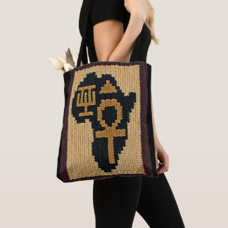 Ankh African Adinkra and Egyptian Symbols Crochet Tote Bag