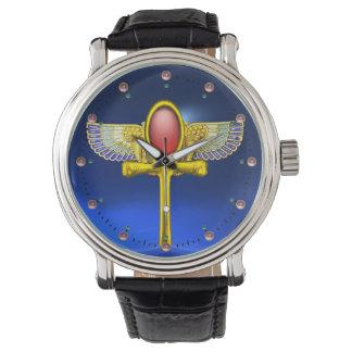 ANKH CON ALAS TALISMAN/EGYPTIAN ROJO, azul de la Reloj