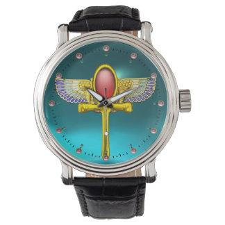 ANKH CON ALAS TALISMAN/EGYPTIAN ROJO, trullo de la Relojes De Pulsera