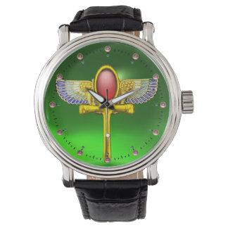 ANKH CON ALAS TALISMAN/EGYPTIAN ROJO, verde de la Reloj De Mano